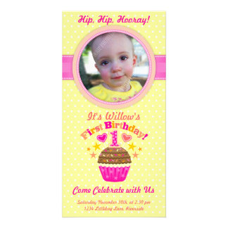 Primeiro cupcake do aniversário menina cartão com foto personalizado