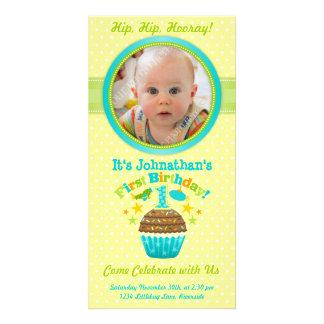 Primeiro cupcake do aniversário (menino) cartao com foto