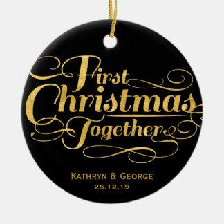 Primeiro do Natal ornamento da foto do feriado