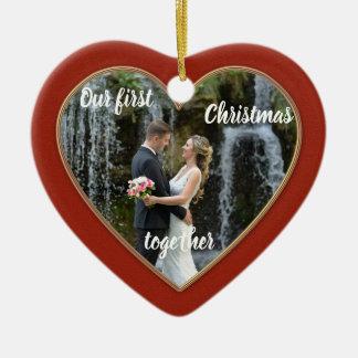 Primeiro do Natal ornamento elegante da foto junto