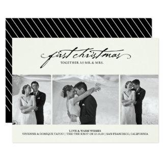 Primeiro Natal como o cartão com fotos do Sr. & da