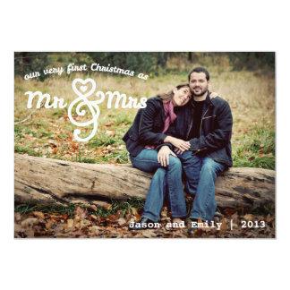 Primeiro Natal como o cartão com fotos do Sr. & da Convite 12.7 X 17.78cm
