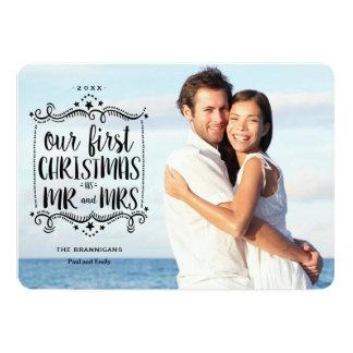 Primeiro Natal como o cartão com fotos do Sr. e da Convite 12.7 X 17.78cm