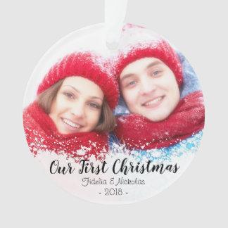 Primeiro Natal como o Sr. & a Sra. Foto Ornamento