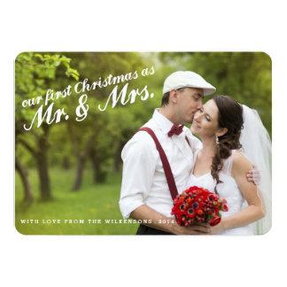 Primeiro Natal como o Sr. e a Sra. Cartão com Convite 12.7 X 17.78cm