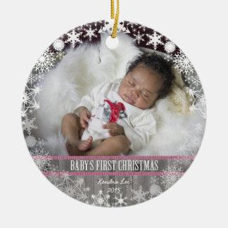 Primeiro Natal dos bebés Ornamento De Cerâmica Redondo