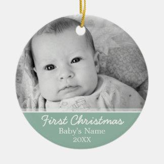 Primeiro Natal dos bebês Ornamento De Cerâmica Redondo