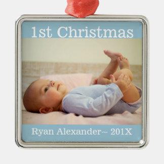 Primeiro ornamento da foto do bebé do Natal