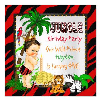 Primeiro príncipe selvagem Brunette do safari de Convite Quadrado 13.35 X 13.35cm