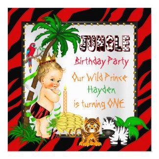 Primeiro príncipe selvagem Louro do safari de Convite Quadrado 13.35 X 13.35cm