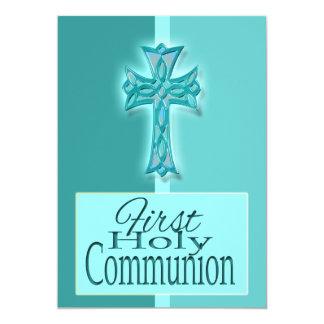 Primeiro religioso azul do comunhão santamente convite 12.7 x 17.78cm