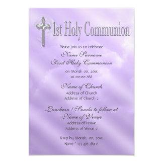 Primeiro religioso roxo do comunhão santamente convite 12.7 x 17.78cm