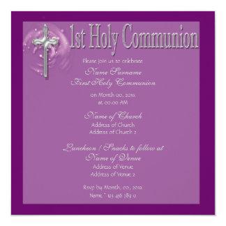Primeiro religioso roxo do comunhão santamente convite quadrado 13.35 x 13.35cm