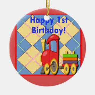 Primeiro trem feliz de Choo Choo do aniversário Ornamento De Cerâmica Redondo