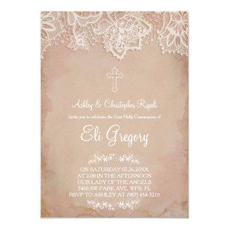Primeiro vintage do rosa do convite do baptismo do