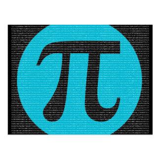 Primeiros 10.000 dígitos do Pi, azuis no preto Cartão Postal