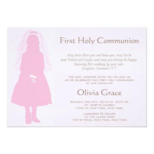 Primeiros comunhão e anúncio - menina convite