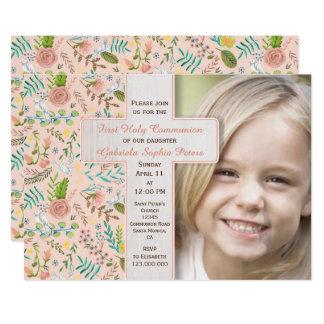 Primeiros convites florais da foto do comunhão