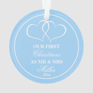 Primeiros corações Wedding do azul dos enfeites de