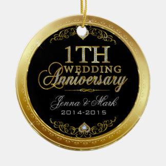 Primeiros ouro e diamantes do aniversário de ornamento de cerâmica redondo