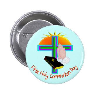 Primeiros presentes do dia do comunhão santamente bóton redondo 5.08cm
