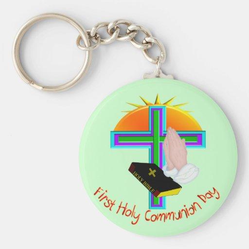 Primeiros presentes do dia do comunhão santamente chaveiro