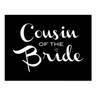 Primo do branco da noiva no preto cartão postal