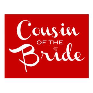 Primo do branco da noiva no vermelho cartao postal