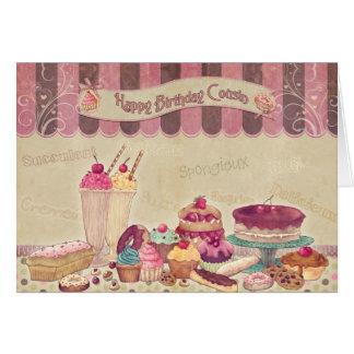 Primo do feliz aniversario - bolos e doces cartão comemorativo