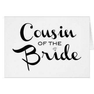 Primo do preto da noiva no branco cartão comemorativo