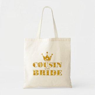 Primo dourado do brilho da noiva sacola tote budget