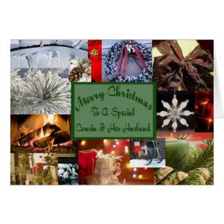 Primo especial da colagem e seu Natal do marido Cartão Comemorativo