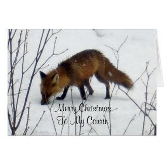 Primo-Fox do Feliz Natal na neve Cartão