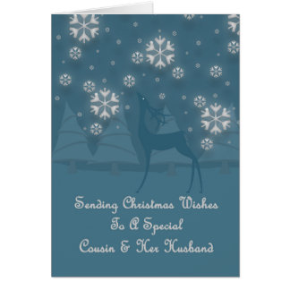 Primo & seu Natal da rena do marido Cartão