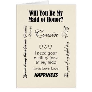 Primo, você será minha madrinha de casamento? Marf Cartões