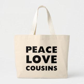 Primos do amor da paz sacola tote jumbo