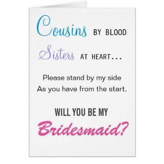 Primos pelo sangue, irmãs no coração - dama de cartão comemorativo