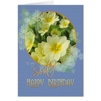 Prímulas do feliz aniversario da irmã azuis e cartão comemorativo