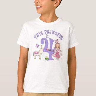 Princesa 4o aniversário do unicórnio camiseta