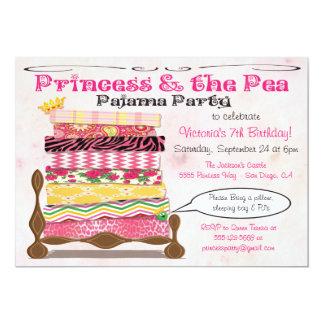Princesa & a festa de aniversário do pijama da convite 12.7 x 17.78cm