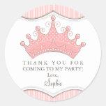 Princesa Aniversário Cor-de-rosa Coroa Agradecimen Adesivo Em Formato Redondo