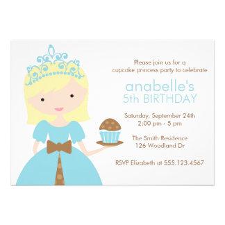 Princesa azul festa de aniversário do cupcake convite personalizados