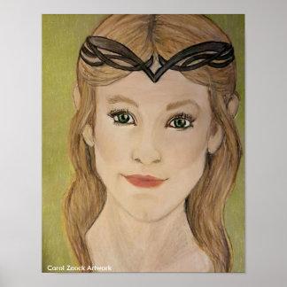 Princesa bonita do duende pela canção de natal pôster