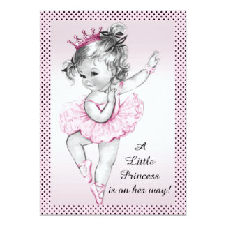 Princesa bonito chá de fraldas da bailarina do convite 12.7 x 17.78cm