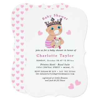 Princesa bonito cor-de-rosa Rega Convite do bebê