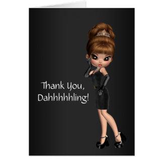 Princesa bonito Diva Agradecimento Você Cartão