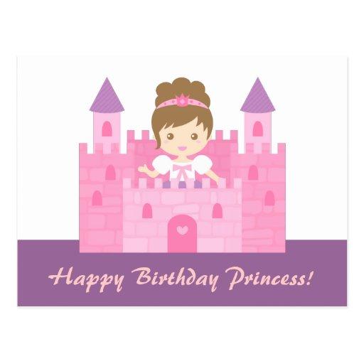 Princesa bonito Menina no feliz aniversario do Cartoes Postais