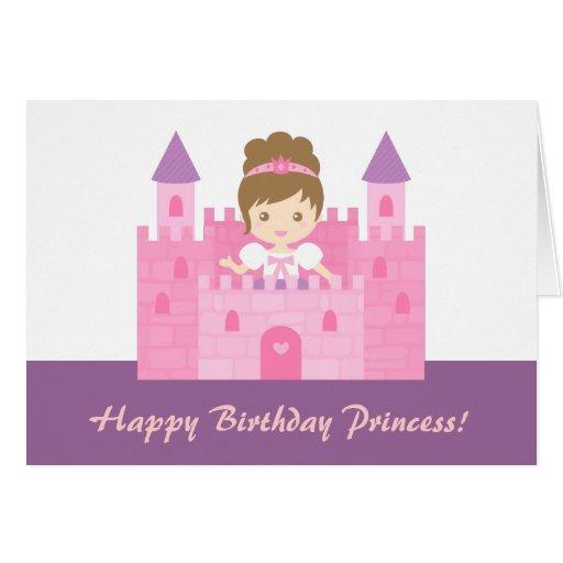 Princesa bonito no feliz aniversario da menina do cartão