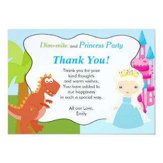 Princesa cartões de agradecimentos do dinossauro convite 12.7 x 17.78cm