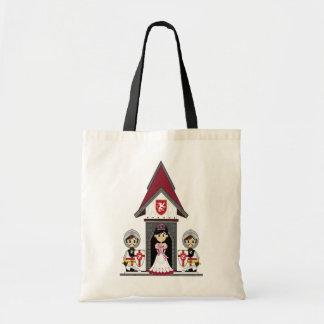 Princesa & cavaleiros na mini sacola do castelo bolsas